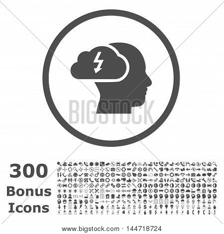 Brainstorming rounded icon with 300 bonus icons. Vector illustration style is flat iconic symbols, gray color, white background.