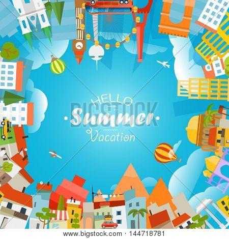 Travel concept vector illustration. Hello summer vacation