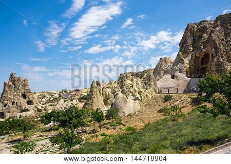 Stone formations in Goreme national park in Cappadocia Central AnatoliaTurkey