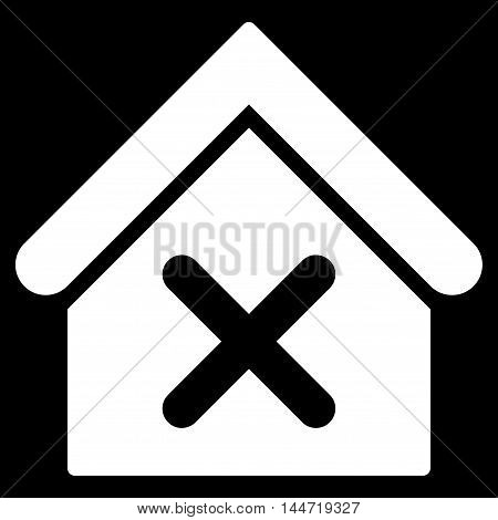 Wrong House icon. Glyph style is flat iconic symbol, white color, black background.