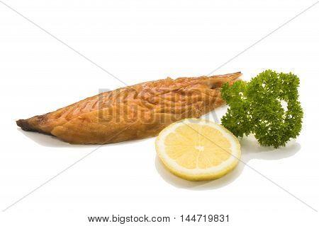 gently smoked scottish mackerel with lemon and parsley on white background