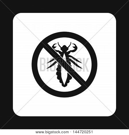 Prohibition sign insects icon in simple style isolated on white background. Warning symbol