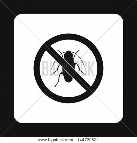 Prohibition sign bugs icon in simple style isolated on white background. Warning symbol