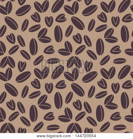 seamless pattern with coffee beans, vector background with various sizes of coffee beans and beans in heart shape