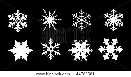 A collection of 8 different snowflakes isolated on a white background