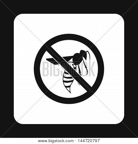 Prohibition sign wasps icon in simple style isolated on white background. Warning symbol