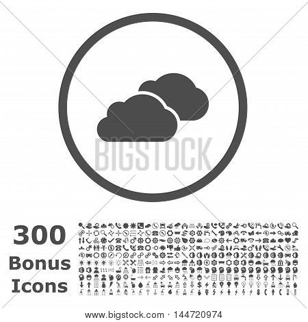 Clouds rounded icon with 300 bonus icons. Vector illustration style is flat iconic symbols, gray color, white background.