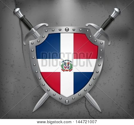 Flag Of Dominican Republic. The Shield Has Flag Illustration. Vector Medieval Background