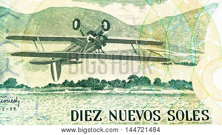 10 soles nuevos bank note. Soles nuevos is the national currency of Peru