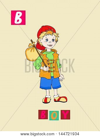 Cute Cartoon English Alphabet With Colorful Image And Word. Kids Vector Abc. Letter B.