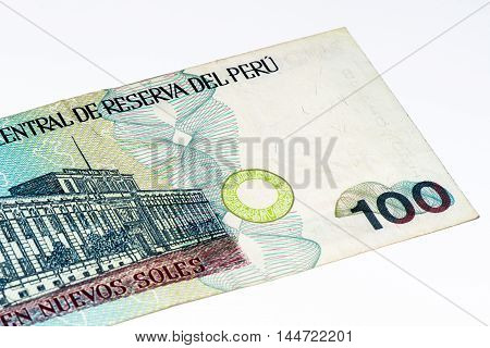 100 soles nuevos bank note. Soles nuevos is the national currency of Peru