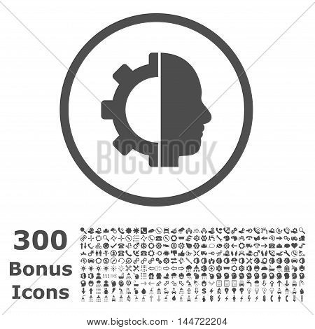 Cyborg Gear rounded icon with 300 bonus icons. Vector illustration style is flat iconic symbols, gray color, white background.