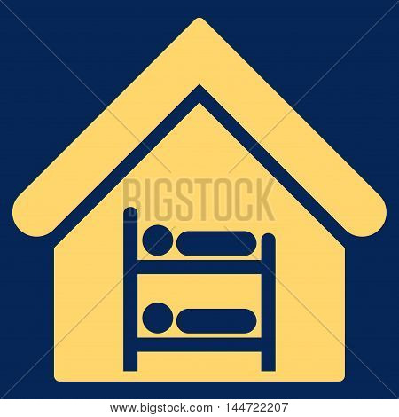 Hostel icon. Glyph style is flat iconic symbol, yellow color, blue background.
