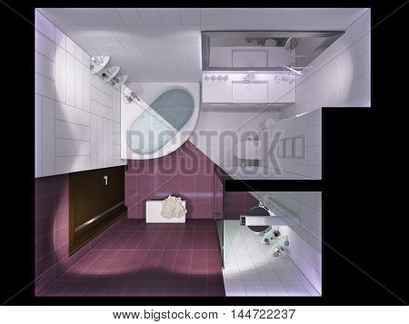 3D Render Interior Design Of A Bathroom In Top View