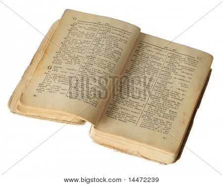 The isolated photo of the old dictionary