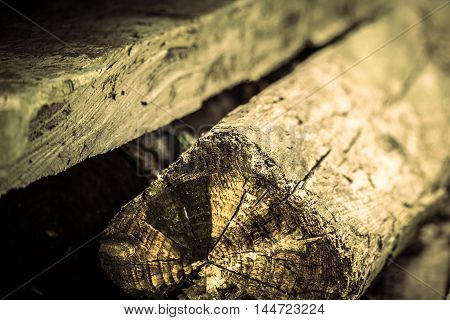 Aged wooden planks in shallow depth of field