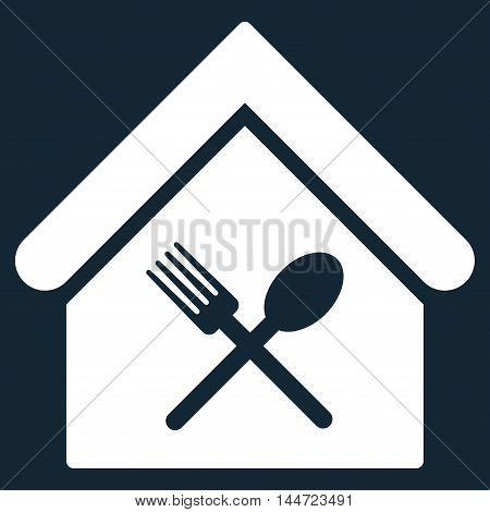 Food Court icon. Glyph style is flat iconic symbol, white color, dark blue background.