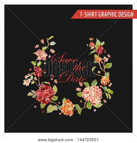 Vintage Hortensia Floral Graphic Design - for Card, T-shirt, Fashion, Prints - in Vector