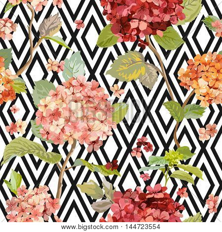 Vintage Hortensia Flowers - Floral Geometric Background - Seamless Pattern for Design, Print, Textile, Scrapbook - in Vector