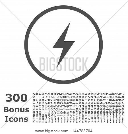 Electricity rounded icon with 300 bonus icons. Vector illustration style is flat iconic symbols, gray color, white background.