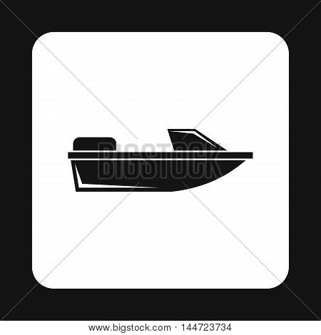 Motorboat icon in simple style isolated on white background. Sea transport symbol