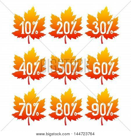Autumnal sale badges. Fall leaves isolated on white background. Vector illustration