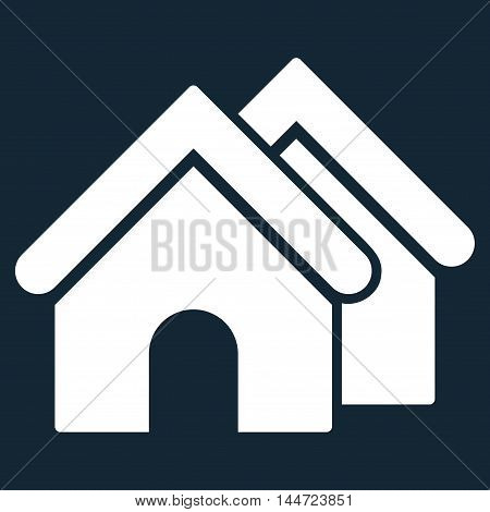 Real Estate icon. Glyph style is flat iconic symbol, white color, dark blue background.