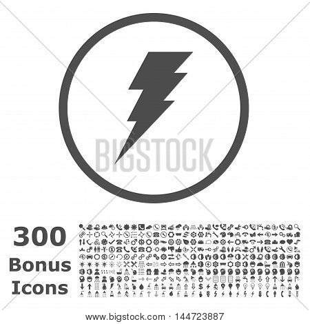 Execute rounded icon with 300 bonus icons. Vector illustration style is flat iconic symbols, gray color, white background.