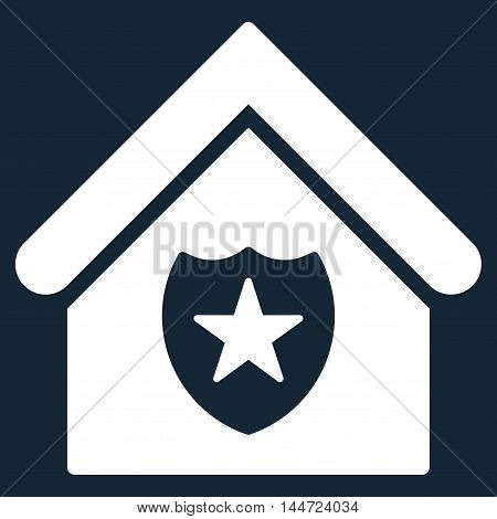 Realty Protection icon. Glyph style is flat iconic symbol, white color, dark blue background.
