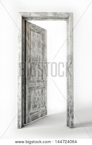 3D old white wooden door on white background