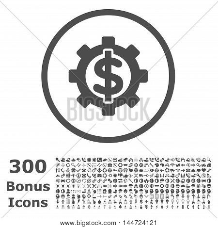 Financial Options rounded icon with 300 bonus icons. Vector illustration style is flat iconic symbols, gray color, white background.