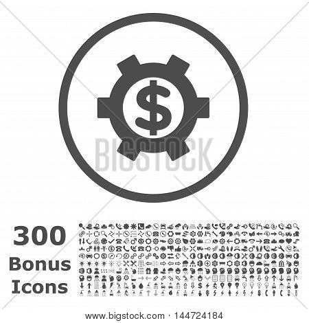 Financial Settings rounded icon with 300 bonus icons. Vector illustration style is flat iconic symbols, gray color, white background.