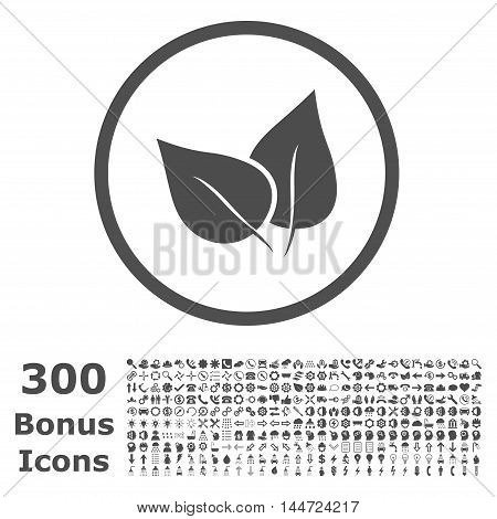 Flora Plant rounded icon with 300 bonus icons. Vector illustration style is flat iconic symbols, gray color, white background.