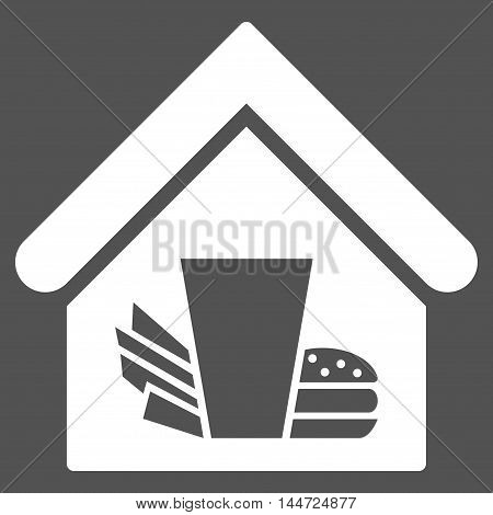 Fastfood Cafe icon. Glyph style is flat iconic symbol, white color, gray background.