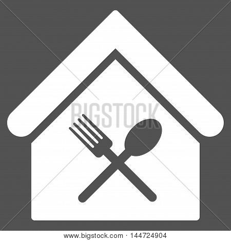 Food Court icon. Glyph style is flat iconic symbol, white color, gray background.