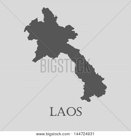 Simple gray Laos map on light grey background. Gray Laos map - vector illustration.