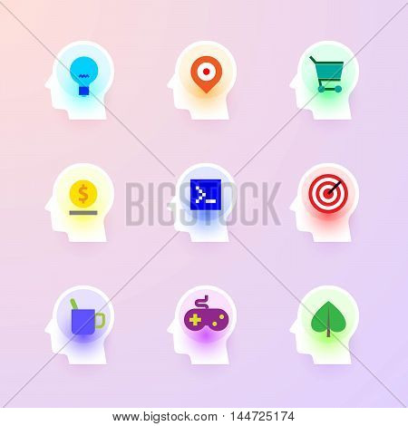 Modern vector flat icons collection of idea, maps, shopping, bank, programming, targeting, break, game, ecology at icon of human head brain. Backlit icons pure style