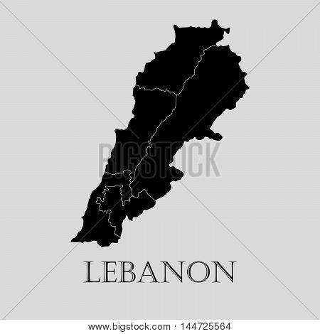 Black Lebanon map on light grey background. Black Lebanon map - vector illustration.
