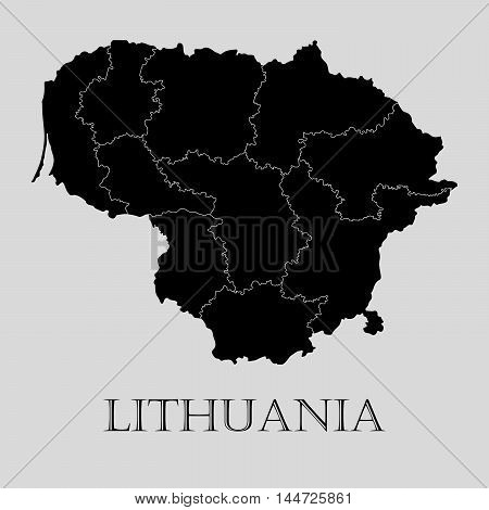 Black Lithuania map on light grey background. Black Lithuania map - vector illustration.