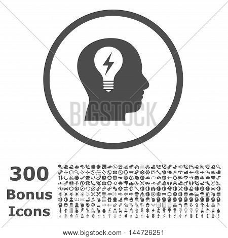 Head Bulb rounded icon with 300 bonus icons. Vector illustration style is flat iconic symbols, gray color, white background.