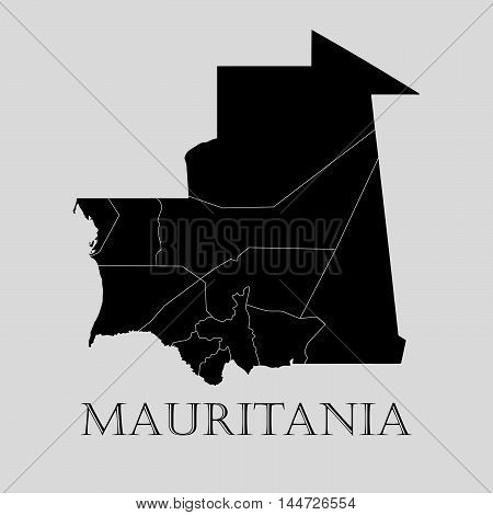 Black Mauritania map on light grey background. Black Mauritania map - vector illustration.