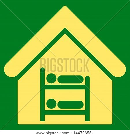 Hostel icon. Glyph style is flat iconic symbol, yellow color, green background.