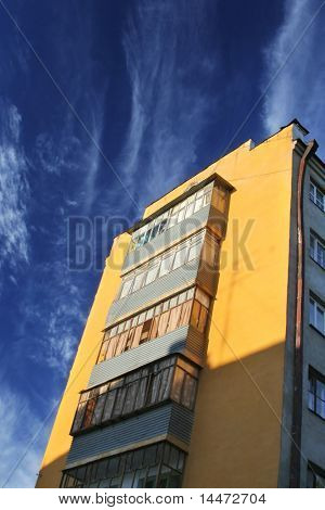 constructivism style buildings on sky background