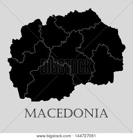 Black Macedonia map on light grey background. Black Macedonia map - vector illustration.