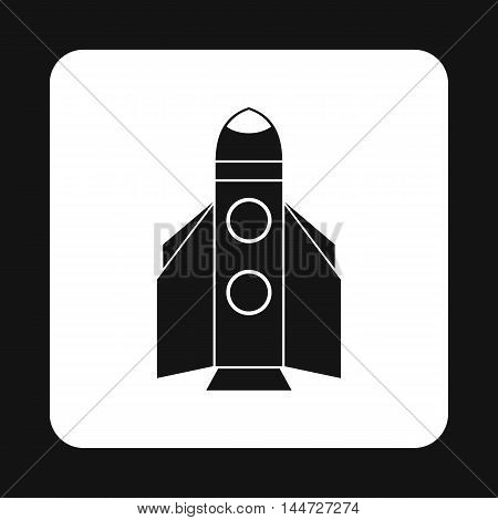 Winged rocket icon in simple style isolated on white background. Aircraft symbol