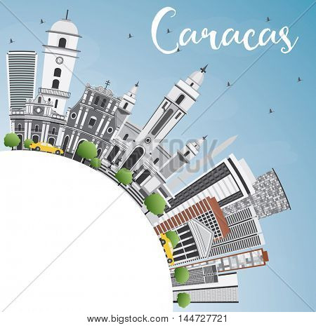 Caracas Skyline with Gray Buildings, Blue Sky and Copy Space. Vector Illustration. Business Travel and Tourism Concept with Historic Buildings. Image for Presentation Banner Placard and Web Site.