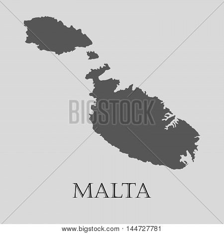 Gray Malta map on light grey background. Gray Malta map - vector illustration.