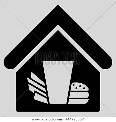 Fastfood Cafe icon. Glyph style is flat iconic symbol, black color, light gray background.