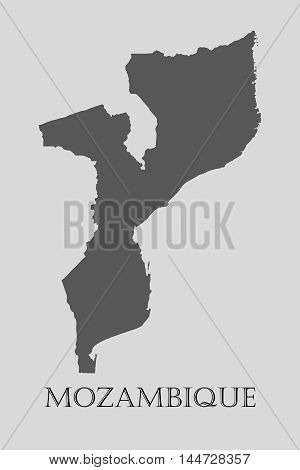 Gray Mozambique map on light grey background. Gray Mozambique map - vector illustration.