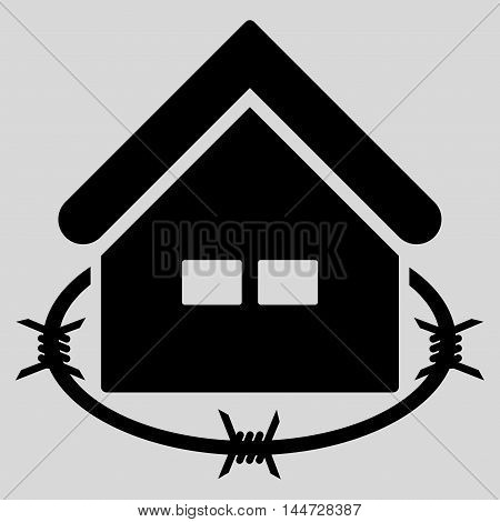 Prison Building icon. Glyph style is flat iconic symbol, black color, light gray background.